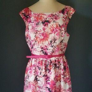 Eliza J floral A line dress with belt